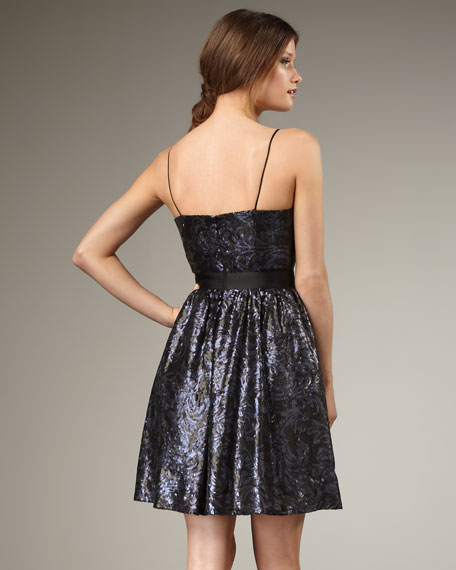 Sequined Fit-and-Flare Dress
