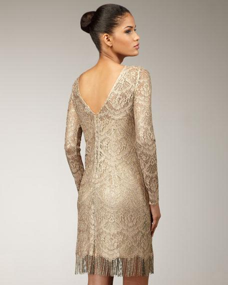 Long-Sleeve Lace Fringe Dress