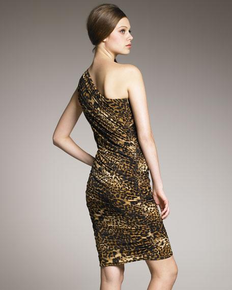 One-Shoulder Animal-Print Dress