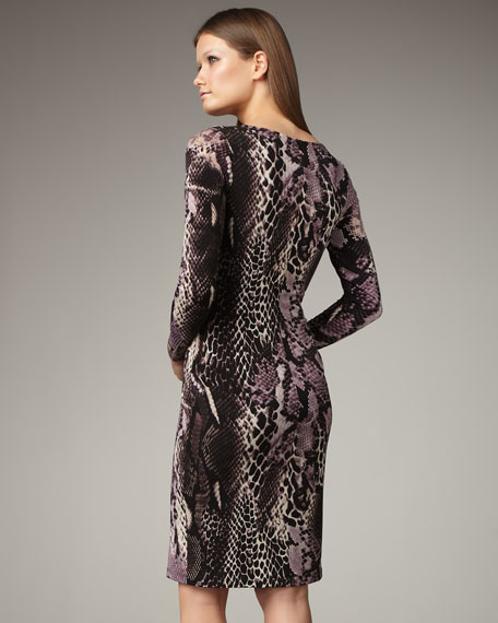 Surplice Animal-Print Dress