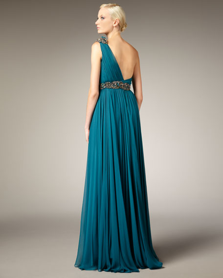 Grecian One-Shoulder Gown