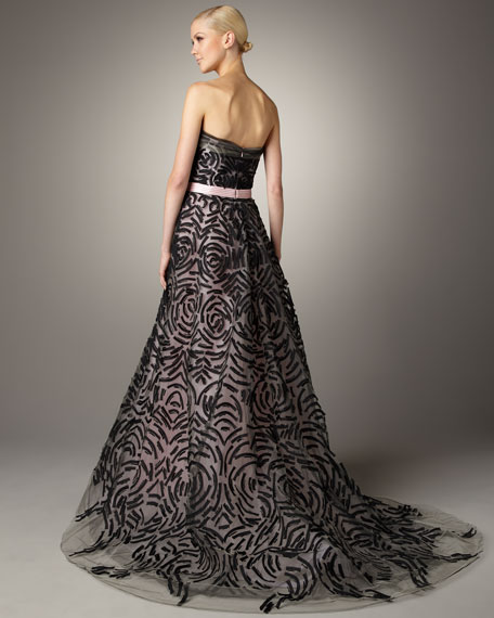 Embroidered Strapless Gown