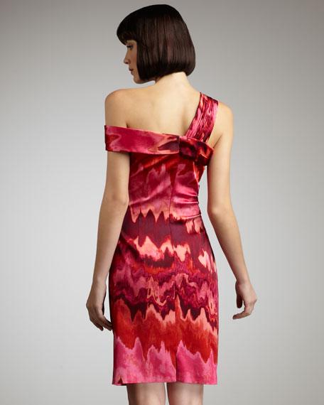 Asymmetric-Neck Floral-Print Dress