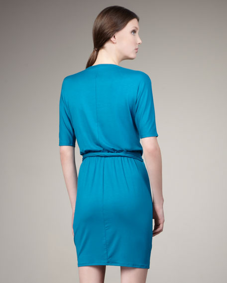 Belted Half-Sleeve Jersey Dress