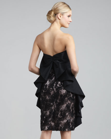 Embroidered Overlay Cocktail Dress