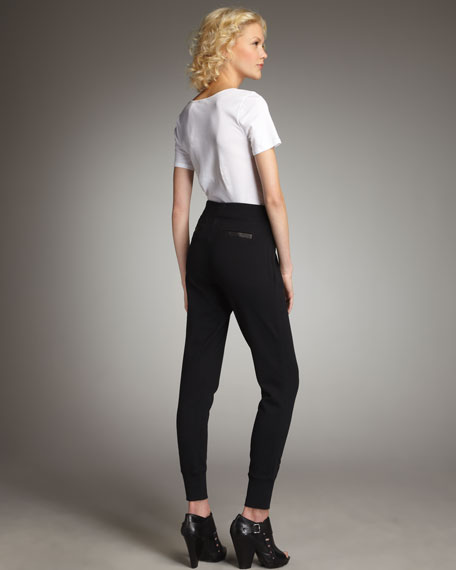 Leather-Trim Pull-on Pants