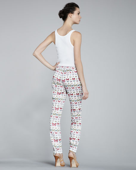 Skinny Butterfly-Print Pants