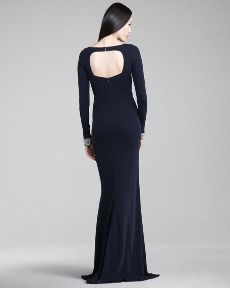 Exclusive Jewel-Cuff Jersey Gown