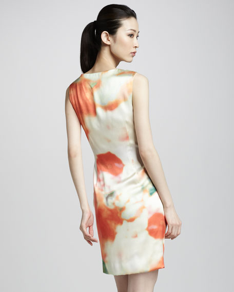 Floral-Print Dress With Draped Bodice