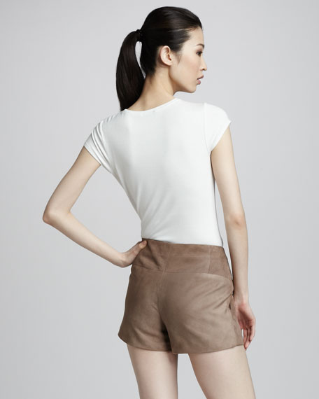 Suede Flat-Front Shorts