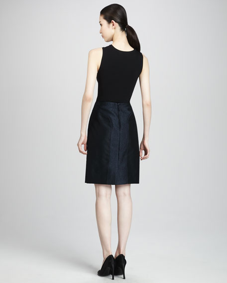 Tulle-Detail Jacquard Pencil Skirt