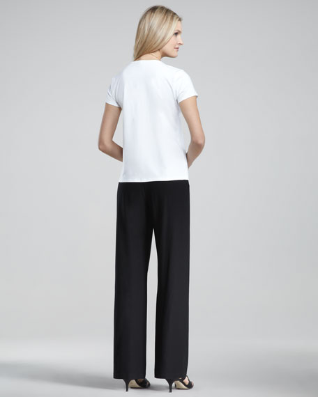 Washable-Crepe Wide-Leg Pants