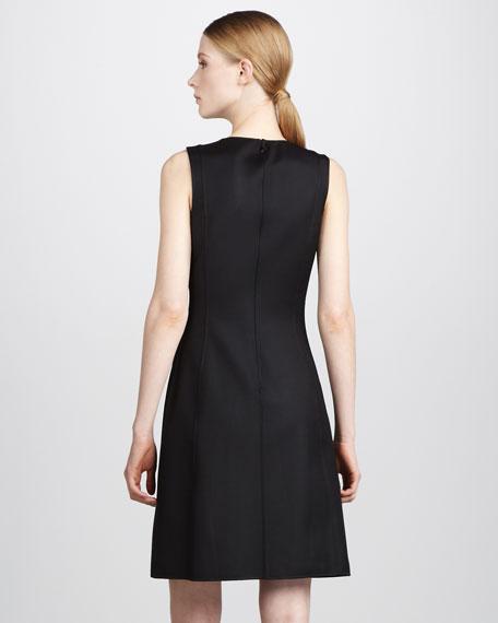 Zip-Front Dress, Black