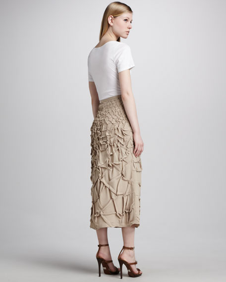 Trapunto-Stitch Long Skirt