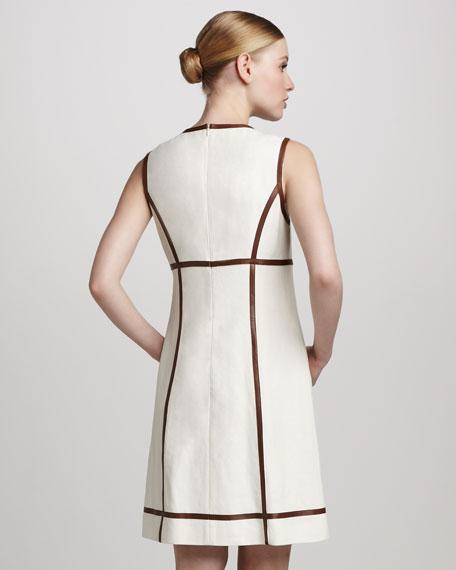Leather-Trim Canvas Dress