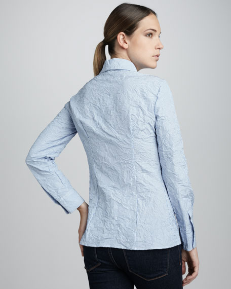 Crinkled Button-Front Shirt