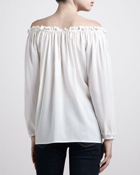 Off-The-Shoulder Ruffled Silk Georgette Top