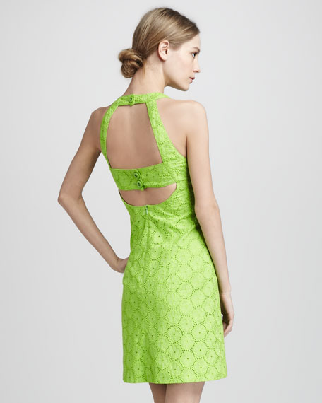 Santa Monica Eyelet Dress, Green Apple