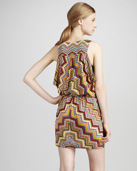 Optical-Print Blouson Dress