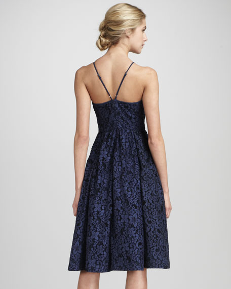 Lace Fitted Halter Skirt Dress