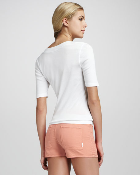 High-Waist Patch-Pocket Shorts