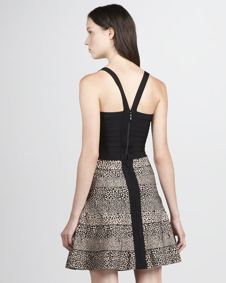 Leopard-Print Fit-And-Flare Bandage Skirt