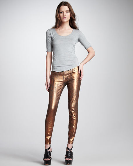 The Stiletto Bronze Coated Foil Jeans