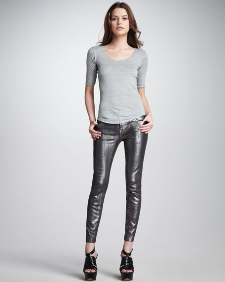 The Stiletto Silver Coated Foil Jeans