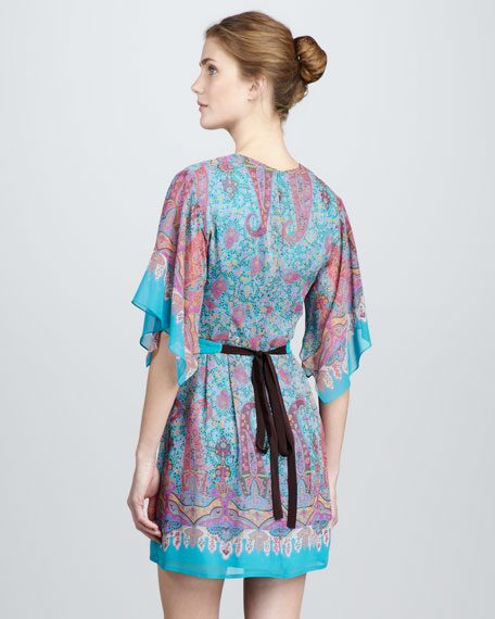 Paisley-Print Silk Dress