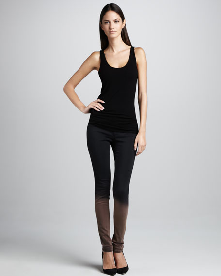 The Legging Ombre Stretch-Leather Jeans