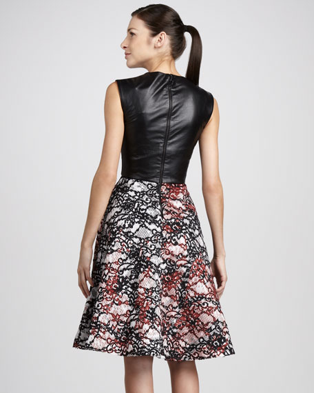 Leather-Bodice Lace Dress