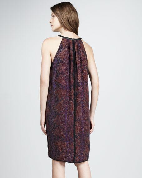 Python-Print Halter Dress, Plum