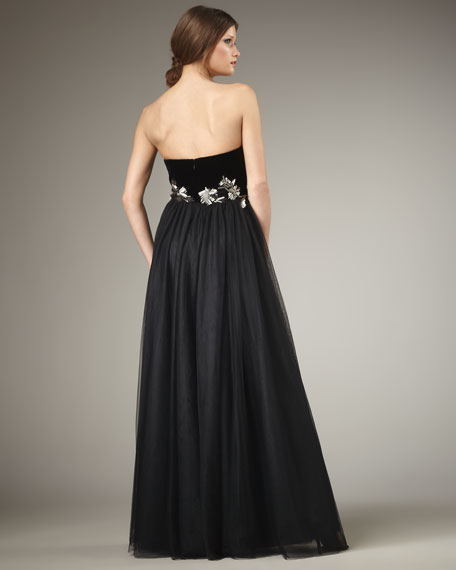 Strapless Beaded-Waist Gown