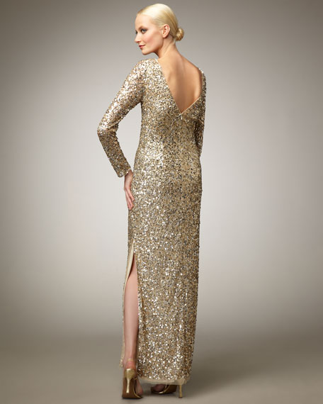 Long-Sleeve Sequin Gown