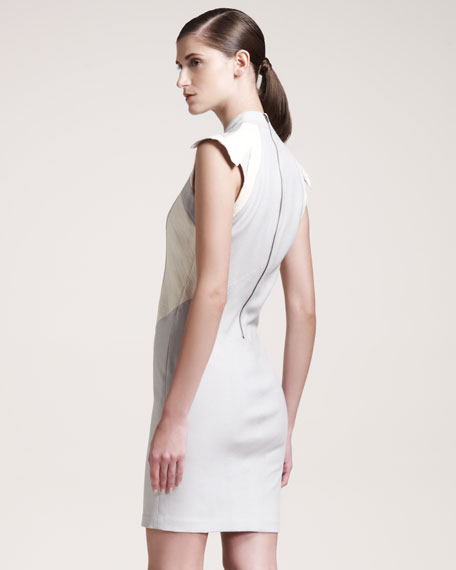 Blistered Leather-Panel Dress