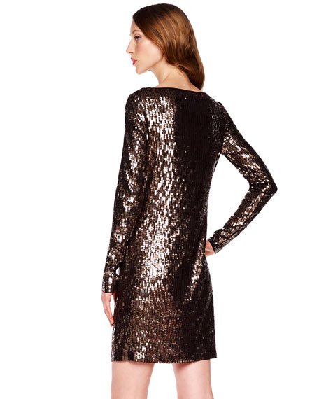 Drape-Neck Sequin Dress