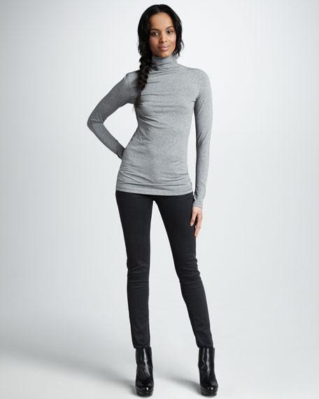 Five-Pocket Skinny Herringbone Jeans
