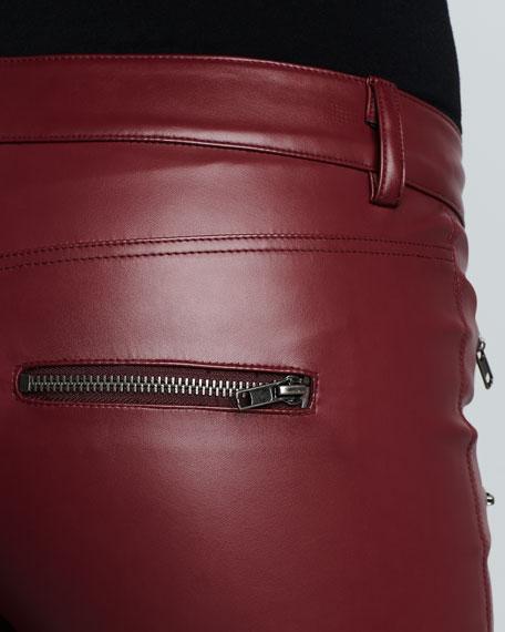 Faux-Leather Pants, Burgundy