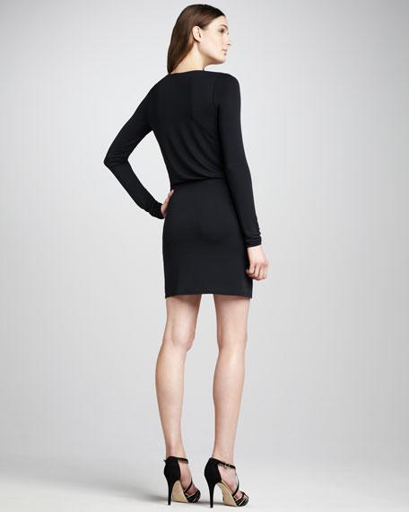 Side-Knot Jersey Dress, Black