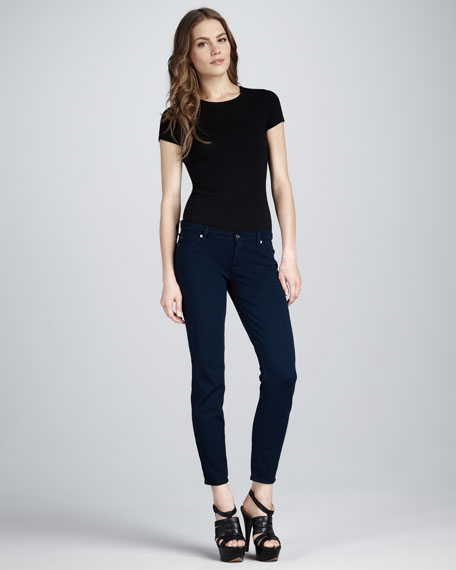 Skinny Double-Knit Jeans, Navy