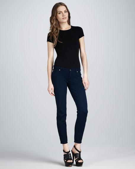 Skinny Double-Knit Jeans, Navy