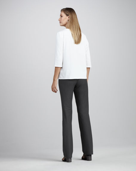 Washable-Crepe Boot-Cut Pants