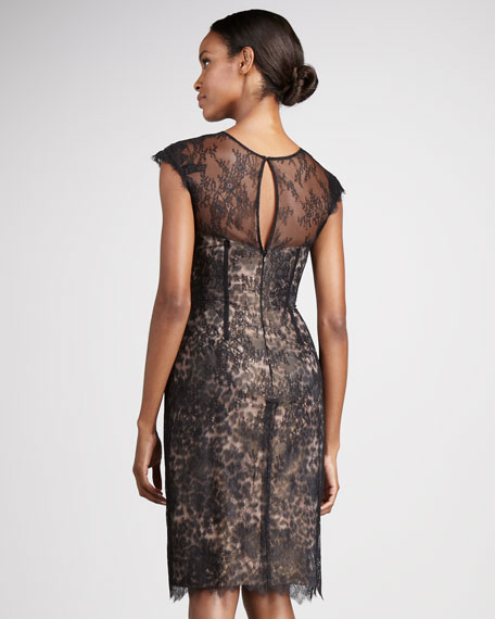 Animal-Print Taffeta Cocktail Dress