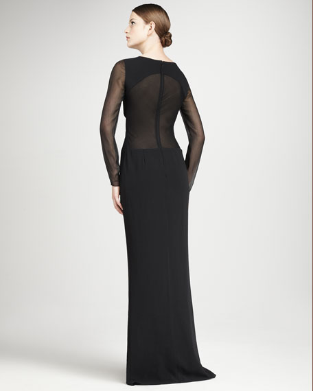 Chiffon-Inset Gown
