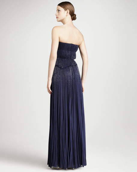 Pleated Strapless Gown, Indigo
