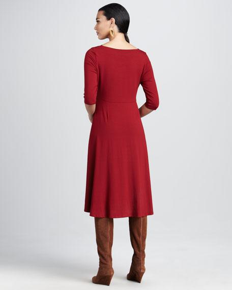 Drape-Neck Jersey Dress