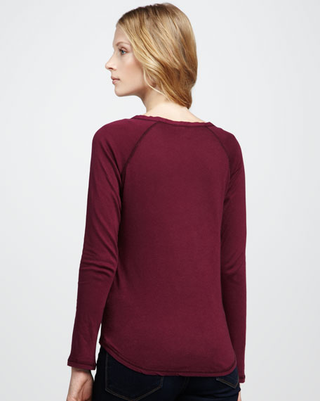 Cotton-Cashmere Crewneck Long-Sleeve Tee