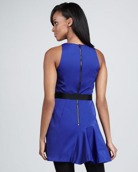 Saxon Belted Satin-Panel Dress
