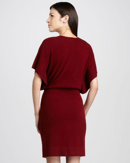 Cashmere V-Neck Dolman-Sleeve Dress