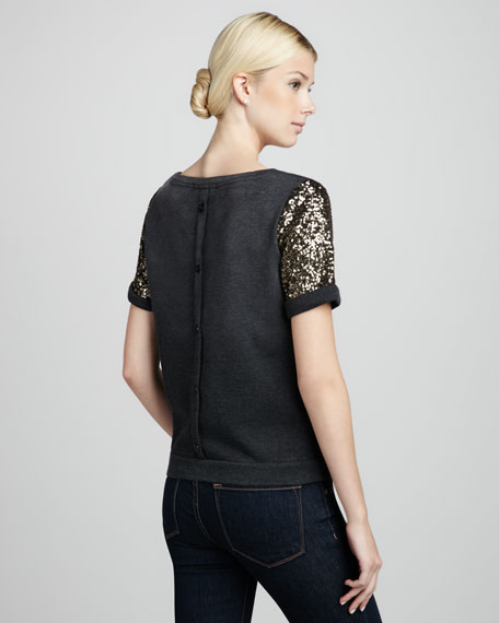 Sequin-Sleeve Knit Top